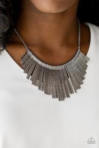 Metallic Mane - Black Necklace