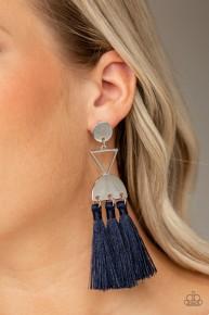 Tassel Trippin' - Blue Fringe Earrings