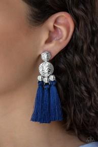 Taj Mahal Tourist - Blue Fringe Earrings
