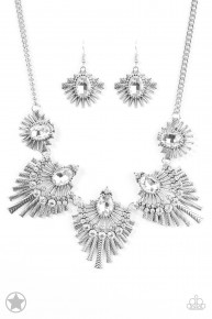 Miss Youniverse - White/Silver Blockbuster Necklace