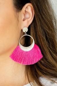 Spartan Spirit - Pink Post Fringe Earrings