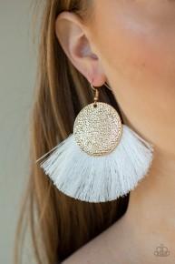 Foxtrot Fringe - Gold/White Fringe Earrings