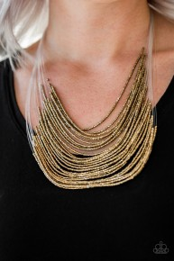 Cat Walk Queen - Brass Seed Bead Necklace