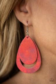 Fiery Firework - Red Leather Earrings