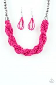 Savannah Surfin' - Pink Seed Bead Necklace