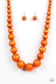 Effortlessly Everglades - Orange Wooden Necklace