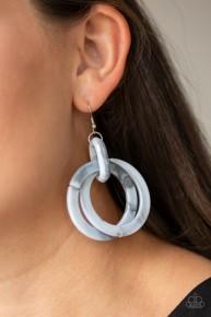 Retro Riviera - Silver/Grey  Acrylic Earrings