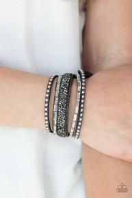 Rhinestone Rocker - Silver Urban Bracelet