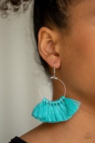 Peruvian Princess - Blue Fringe Earrings