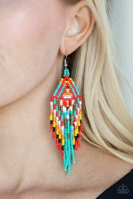 Boho Blast - Blue Seed Bead Earrings
