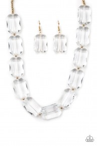 The Ice President - White/Gold Acrylic Necklace