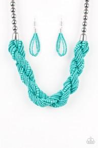 Savannah Surfer - Blue Seed Bead Necklace
