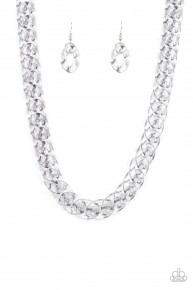Put It On Ice - Clear Silver Acrylic Necklace