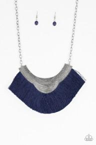My Pharaoh Lady - Blue Fringe Necklace