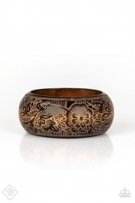 Beach Retreat - Brown Wooden Bangle Bracelet