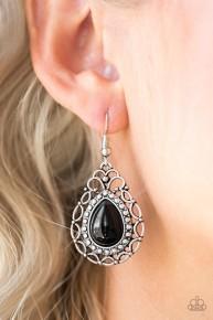 Flirty Finesse - Black Earrings