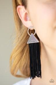 Oh My GIZA - Black Post Fringe Earrings