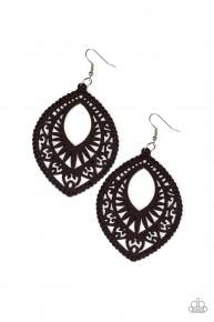 Coachella Gardens - Brown Wooden Earrings