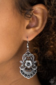 Blooming Bora Bora - Black Earrings