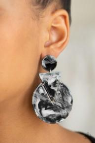 Head Under Watercolors - Black Acrylic Post Earrings