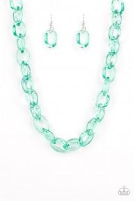Ice Queen - Green Acrylic Necklace