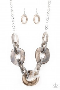 Courageously Chromatic - Silver Acrylic Necklace