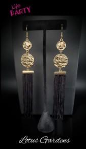 Lotus Garden - Gold/Black Fringe Earrings
