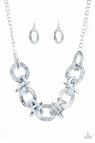 Chromatic Charm - Silver Acrylic Necklace
