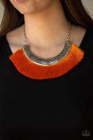 Might And MANE - Orange Fringe Necklace