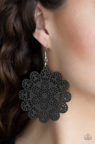 Coachella Cabaret - Black Wooden Earrings