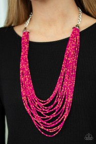 Peacefully Pacific - Multi/Pink Seed Bead Necklace