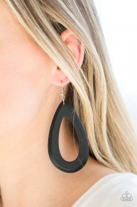 Malibu Mimosas - Black Wooden Earrings