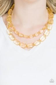 Ice Bank - Gold Acrylic Necklace