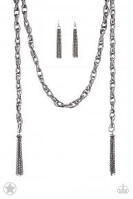 Scarfed For Attention - Gun Metal Blockbuster Necklace