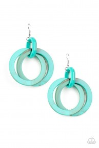 Retro Riviera - Blue Acrylic Earrings