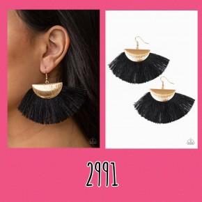 Fox Trap - Black/Gold Fringe Earrings