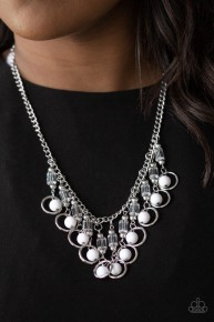 Cool Cascade - White Necklace