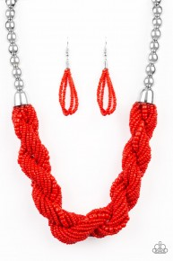 Savannah Surfin' - Red Seed Bead Necklace