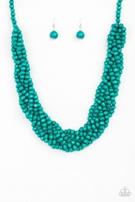 Tahiti Tropic - Blue Wooden Necklace