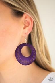 Beach Club Clubbin' - Purple Wooden Earrings