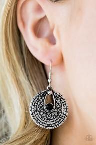 Majestically Mayan - Black Earrings