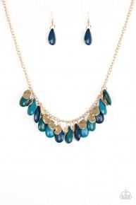 Tropical Storm - Blue/Gold Necklace