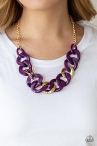 I Have A HAUTE Date - Purple Acrylic Necklace