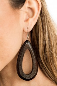 Malibu Mimosas - Brown/Wooden Earrings