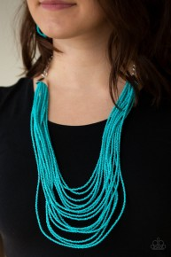 Peacefully Pacific - Blue Seed Bead Necklace