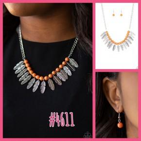 Desert Plumes - Orange Necklace