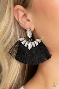 Formal Flair - Black Post Fringe Earrings