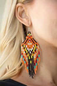 Boho Blast - Black/Orange Seed Bead Earrings