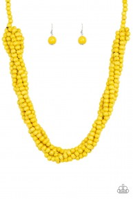 Tahiti Tropic - Yellow Wooden Necklace