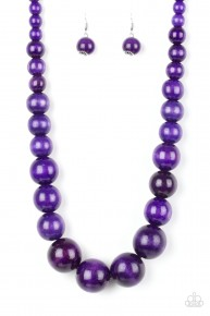 Effortlessly Everglades - Purple Wooden Necklace